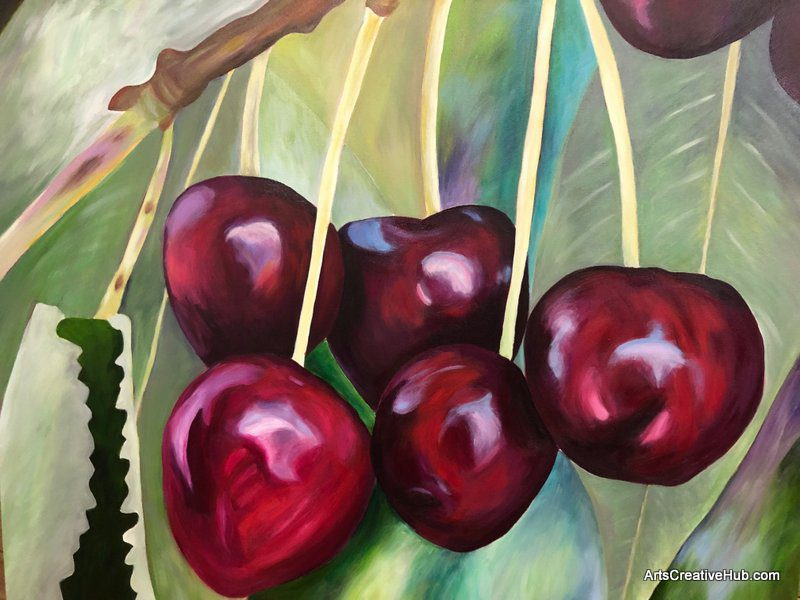 Blooms Painting Workshop Melbourne student newbie cherries lynne brown NZ