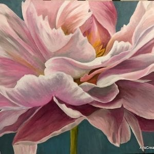 Blooms Painting Workshop Melbourne student peony Melbourne