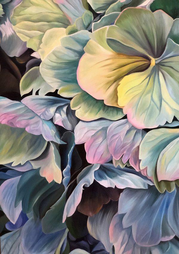 Jacqueline Coates Hydrangeas Painting sample oxenwood whole painting 130 x 89cm