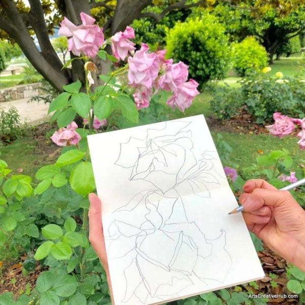 French Art School Nice - Tour Monastery Rose Drawing
